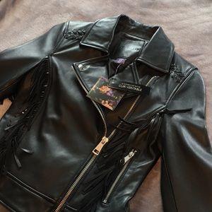 NWT  Fringed Leather Motorcycle Jacket